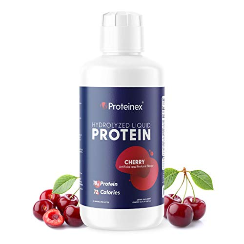 Liquid Protein Hydrolyzed by Proteinex. No Fat, Sugar Free, No Carbs. Predigested Hydrolysate Supplement. Supports Recovery Surgery Treatment Muscles and Joints (Cherry)