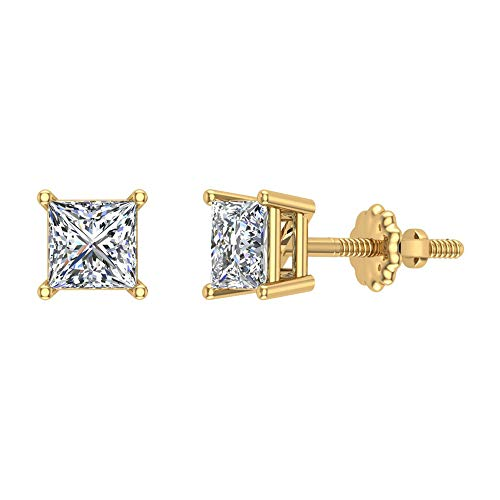 Diamond Earrings for women-girls Princess Cut studs 14K Yellow Gold 0.50 carat t.w. Gift Box Authenticity Cards (I, I1)