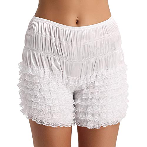 inlzdz Lencería Sexy Mujer Pantalones Cortos de Baile Bloomers con Encaje para Chicas Dulce Pantalones Cortos Super Suave Boxer Bragas de Mujer Complemento Blanco X-Large