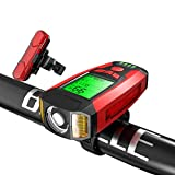 Juego de luces para bicicleta, velocímetro, cargador USB, luz trasera con timbre de bicicleta, 5 modos de iluminación, linterna para todos los viajes de montaña y carretera