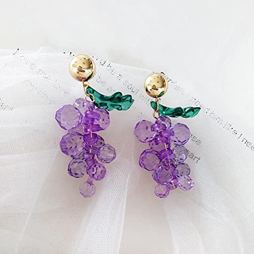 FEARRIN Pendientes Diseño único de Moda Diseño Encantador Perlas púrpuras Pendiente de Gota de UVA para Mujer Pendientes de joyería Pendientes de Boda Femeninos Fiesta Joyería de Boda Regalos Stud