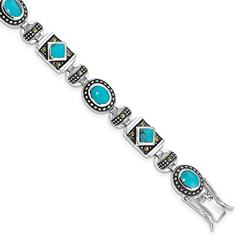 Ryan Jonathan Fine Jewelry Sterling Silver Synth Turquoise and Marcasite Bracelet, 7'