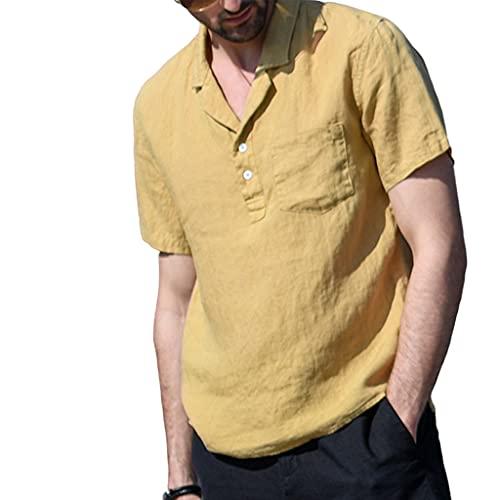 T-Shirt Hombres Verano con Cuello En V De Color Sólido Manga Corta Hombres Shirt Slim Fit Bolsillos De Tapeta con Botones Hombres Shirt Ocio Moderna Y Cómoda Hombres Shirt Playa D-Khaki 3XL