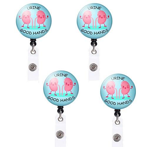4PCS EFINLUKY Kidney Badge Reel Urine Good Hands Badge Holder Retractable Nursing ID Badge Reel Name Decorative with Alligator Clip for Girls,Women, Nurse, Teacher, Student, Volunteer