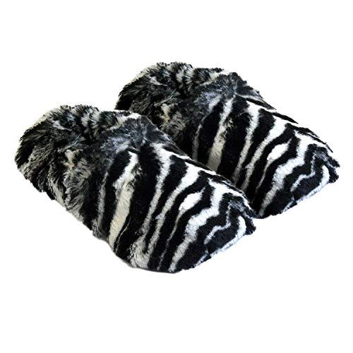 Thermo Sox aufheizbare Hausschuhe für Mikrowelle und Ofen - Mikrowellenhausschuhe Wärmepantoffeln Wärmehausschuhe Wärmeschuhe Fußwärmer Supersoft, Zebra, 36/40 EU