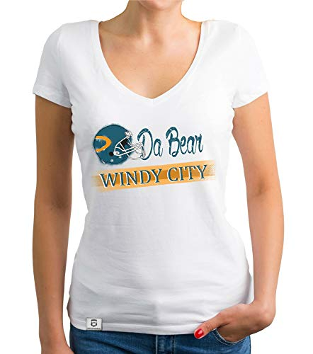 shirtdepartment - Damen T-Shirt V-Ausschnitt - Da Bear - Windy City Weiss-türkis XL