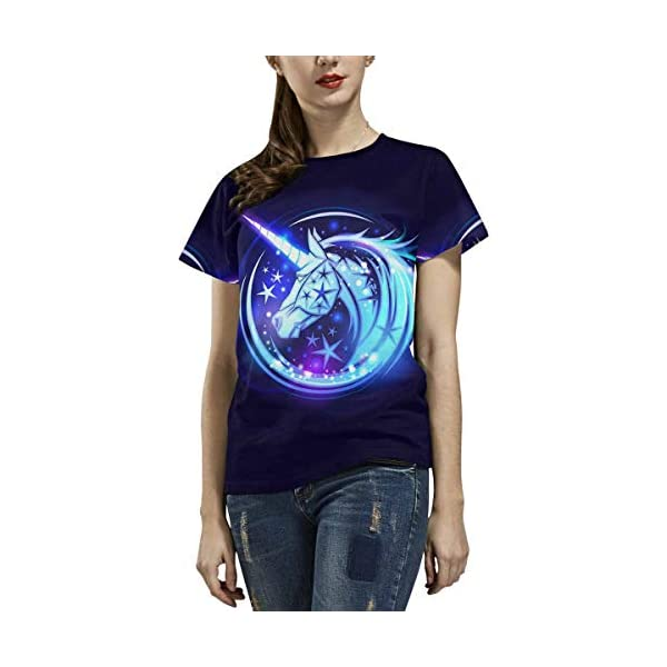 InterestPrint Women's T-Shirt Unicorn Head Stars Casual Tops (XS-2XL) 5