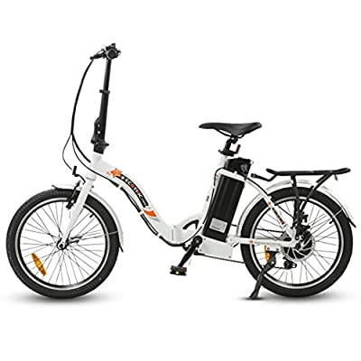 """ECOTRIC 20"""" Folding Electric Bike Bicycle City EBike 350W Gear Rear Motor 36V/10AH Removable Lithium Battery Alloy Frame Pedal and Throttle Assist LED Display (White)"""