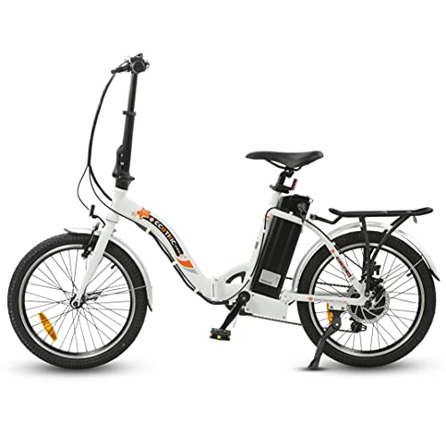 ECOTRIC UL Certified 20' Folding Electric Bike Bicycle City EBike 350W Gear Rear Motor 36V/12.5AH Removable Lithium Battery Alloy Frame Pedal and Throttle Assist LED Display (White)
