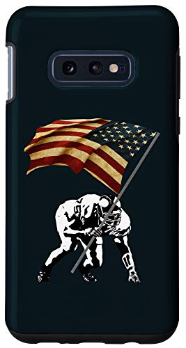 Galaxy S10e Born To Block Lineman Football Proud Flag US Vintage Design Case