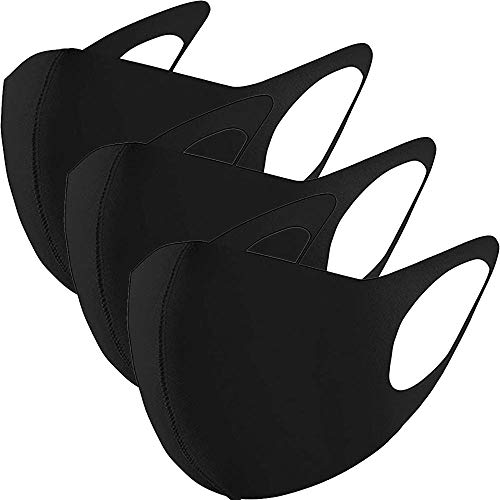 GC-TECH® 3 x modische Mundbedeckung f. Kinder und Erwachsene Maske perfekte Passform waschbare Gesichtsmaske div. Größen u. Farben (schwarz Größe L)