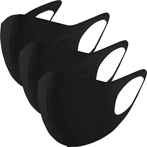 GC-TECH modische Mundbedeckung für Kinder + Erwachsene in schwarz, 3er, 6er oder 12er Set mit Elasthan f. d. perfekten Sitz waschbare Maske