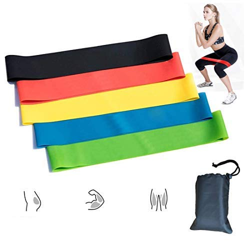 illumafye Resistance Bands,Set of 5 Skin-Friendly Resistance Fitness Exercise Bands Set with 5 Different Resistance Levels for Legs and Glutes, Arms for Home,Gym,Yoga,Training-Carry bag included