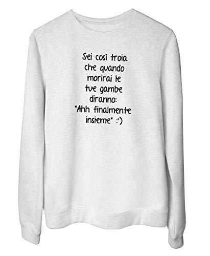T-Shirtshock Rundhals-Sweatshirt fur Frau Weiss TDM00014 AHH FINALMENTE INSIEME