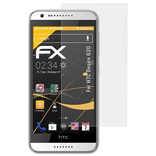 atFolix Panzerfolie kompatibel mit HTC Desire 620 Schutzfolie, entspiegelnde & stoßdämpfende FX Folie (3X)