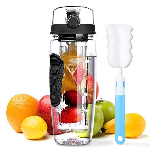 OMorc 32 OZ Sport Fruit Infuser Water Bottle, Flip Top Lid &...