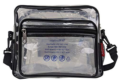 Amaro Delux Umhängetasche, 0,6 mm, durchsichtig, mit verstellbarem Schultergurt und Reißverschluss, durchsichtig, Stadion-geprüfte Geldbörse