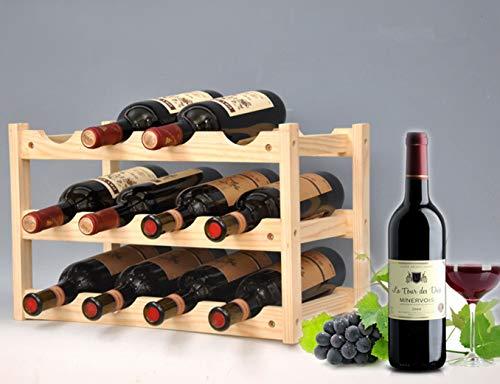 Pine Wine Holder Wood Wine Rack Wine Shelf Wine Cabinet Display Stand for Home Living Room Kitchen Bar Solid Wood - Manual Assembly 3 Layer 12 Bottles