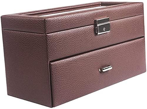 ZRDSZWZ Caja organizadora de piel sintética fiable para reloj, 20 unidades, para hombre, con bandeja ajustable y parte superior de cristal (color marrón