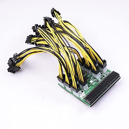 Placa de módulo de alimentación para conversión de energía de Servidor PSU Cable de alimentación de 6 Pines a 8 Pines Cable de alimentación Verde de 12 * 50 cm