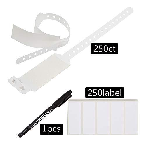 Wristall Waterproof Plastic Shield Wristbands - Write on Adult Label Band (White, 250)