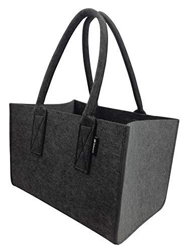 Shopper Filztasche Premium 5mm, große Einkaufs-Tasche mit Henkel, Einkaufskorb, faltbare Kaminholztasche zur Aufbewahrung von Holz, Tragetasche auch zur Spielzeug Aufbewahrung, Dunkel-/Hellgrau