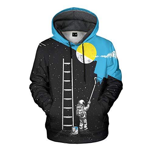 Mens Hoodies Pullover Unisex Sweatshirt Graphic Hoodies For Men 3D Hoodie For Women (H03-astronaut Blue, L)