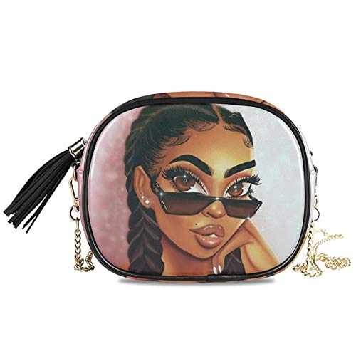 Mdsfe Bags Chain women's crossbody Shoulder bag Afro Girls Black Women PU Leather handbag Messenger Bag Small Square Bags - 12