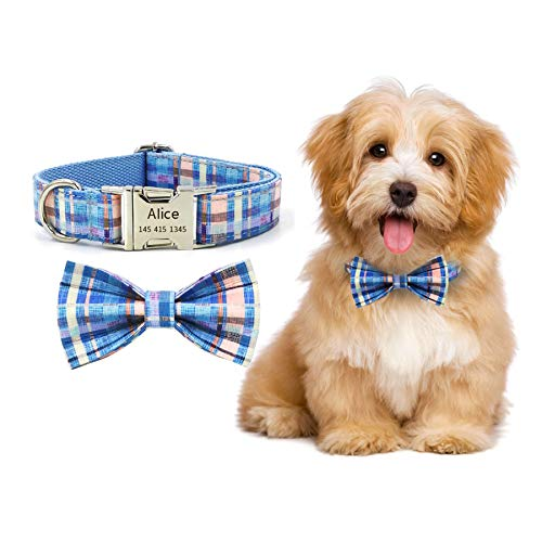 Bowtie Dog Collar with Name Plate-Soft&Comfy Bowtie Dog Collar and Cat Collar- Adjustable Pet Gift Collars for Small Medium Large Dogs/Cats (XL)