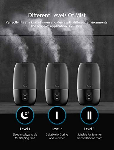 iTvanila Ultrasonic Cool Mist Humidifier,Humidifiers for Bedroom Baies Humidifier 2.7L Water Tank, Auto-Off,Lasts to 12-28 Hours