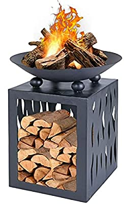 Modern Outdoor Fire Pit Large Raised Fire Bowl Raised With Log Store 65cm Tall by Rammento