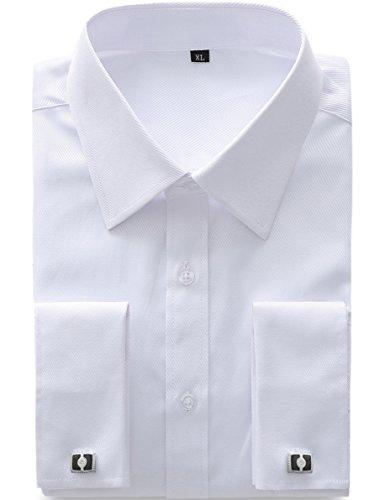 """JEETOO Hommes Chemise Style Francais à Manches Longues Slim Fit avec Boutons de Manchette en Métal (Blanc, UK M(Tag XL)-Fit Poitrine 42""""-43"""")"""