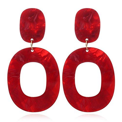 Haptian Clip per Orecchio, 1 Paio di Orecchini Pendenti Vintage Colorati Geometrici A Forma di Ovale con Decorazione Geometrica Rosso
