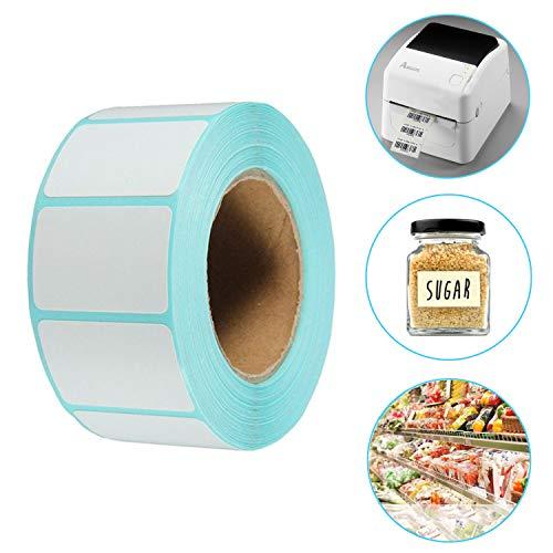 AOBETAK Selbstklebende Etiketten auf Rolle, 800 Stück, 60 mm x 30 mm, weiß, Klebeetiketten Klein für Gefrierdosen, Drucker, Name, Adressetiketten,Gefrierschrank, Datum,Küche