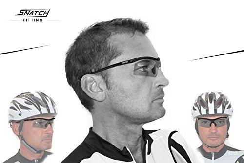 Radbrille Selbsttönend Polarisiert – Fahrradbrille Photochrome Sportbrille Sonnenbrille Ski Laufen Golf Running by Snatch Italy (Matt Schwarz / Shiny Schwarz, Photochromen) - 6