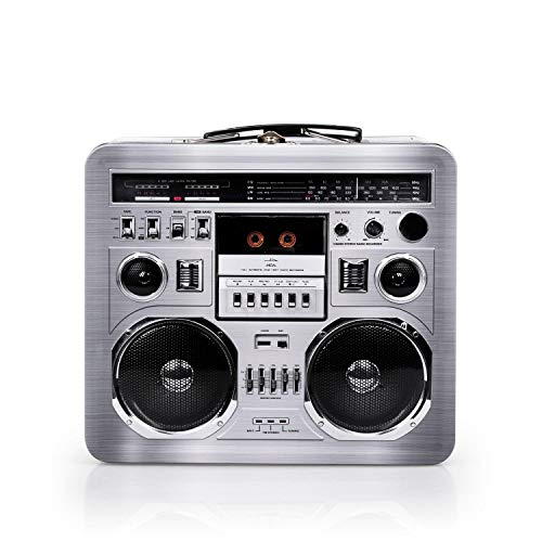 Retro Boombox Radio Lunchbox Tin Tote - 1980s Inspired Merchandise - Novelty Costume Accessories And Storage Container - Fun Unique Gifts for Halloween Birthdays Holidays Graduation