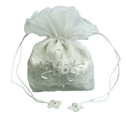 LadyMYP Brauthandtasche, Brautbeutel mit Blüten, Perlen und Strass auf Spitze, Hochzeit, Kommunion Model428 (Ivory)