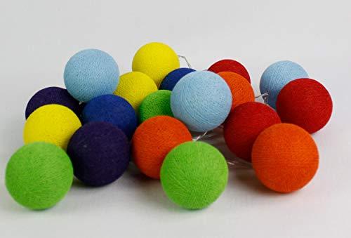 Cotton Ball Lights Rainbow 10, coton, Red-Dutch Orange/jaune/vert clair/bleu clair/bleu royal/magenta