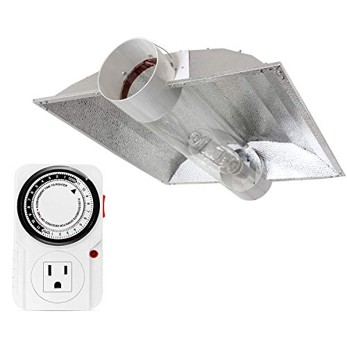 iPower 8 Inch Cool Tube Reflector Hood XXL and 24 Hour Plug-in Mechanical Timer Combo Set for Indoor Gardening, White