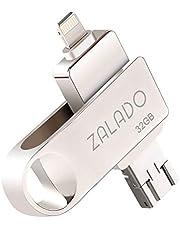 USBメモリ 32GB ZALADO iPhone 32gb フラッシュドライブ 人気 フラッシュメモリ IOS/Android/パソコン対応 3in1メモリ 高速データ転送 スマホ 容量不足解消 日本語取扱説明書付き(シルバー 32GB)