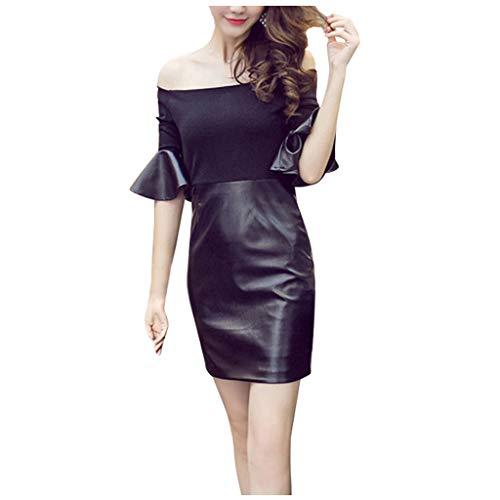 Damen Schulterfrei Ballkleid Abendkleider Leder Look Minikleid Binggong Einfarbig Partykleid Tunikakleid