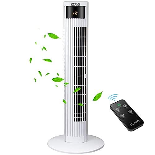 OZAVO Ventilador de Torre 45W   95,5CM con Mando a Distancia Oscilación de 70°   3 Velocidades   3 Modos   12H Temporizador   Led Pantalla   Panel Táctil Ventilador de Pie Blanco