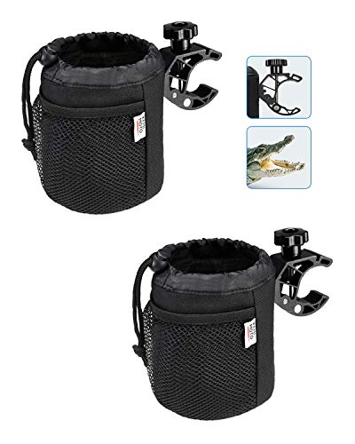 kemimoto Cup Holder, Oxford Fabric Drink Cup Can Holder with Drain and Alligator Clip for Boat, Kayak, Motorcycle, ATV, Bike, Wheelchair, Walker, Scooter, Golf Cart, RV, Camper, Chair, 2 Pac