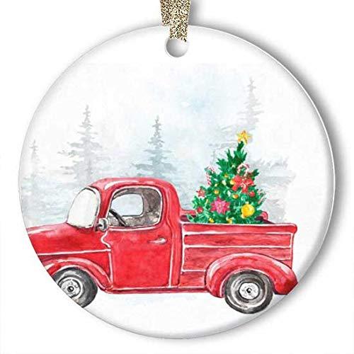 EaYanery - Adorno de cerámica para coche (redondo), diseño de abeto de Navidad con estrellas de nieve y copo de nieve, diseño de camión, personalizable