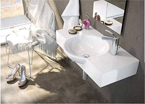 Art of Baan - design wastafel met plank, wasschaal; 770 * 450 * 175 mm, hoogglans wit (Bemus)