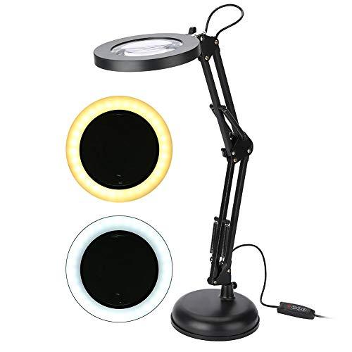 Cocoarm Lupa LED 5X lupa lámpara de escritorio 8W USB Luz diurna regulable 360° giratorio con 10 ajustes de luz ajustables para trabajo, lectura, pasatiempos, costura, manualidades, delineador de uñas