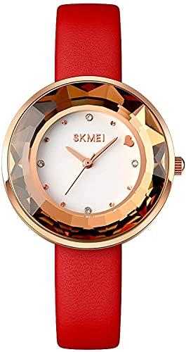 Luxury Lady Quartz Watch Elegant Ladies Design Heart Diamond WristWatches Women Watch Female Vestido Brillante Vestido (Color : Red)