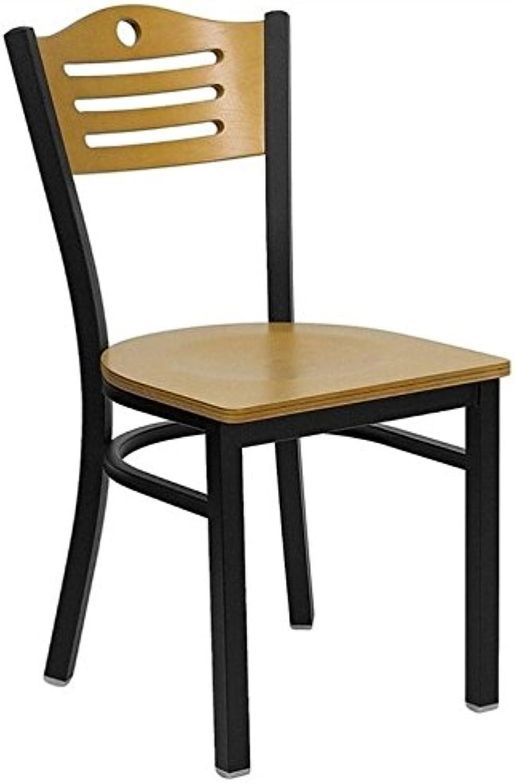 Bowery Hill Black Slat Back Metal Restaurant Dining Chair