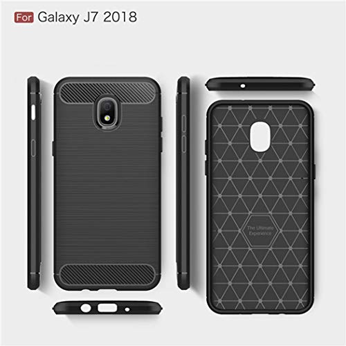 Kit Me Out World Carbon Series Case Designed for Samsung Galaxy J7 (2018) Case, Full Matte Slim Fit Flexible TPU Minimal Durable Protection Case Cover Brushed Carbon Fiber Effect (Black)