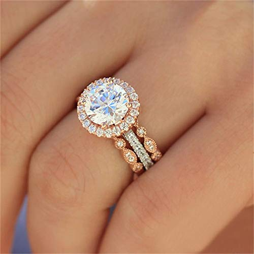 18k Rose Gold 3 Piece Ring Set Cubic Zirconia Bride Promise Rings Set CZ Eternity Engagement Wedding Band Ring Sets for Women (US Code 9)